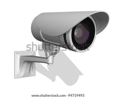 surveillance outdoor camera isolated on white background 3d render