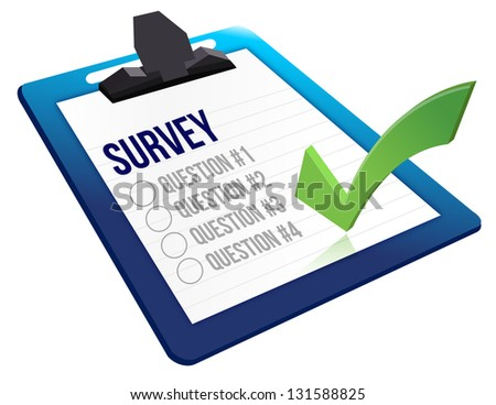 Survey and a list of questions illustration design over white - stock photo