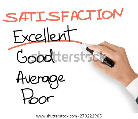 Survey. Business hand evaluate excellent on customer satisfaction form - stock photo