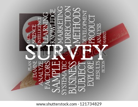 Survey cloud concept with a chechlist background - stock photo