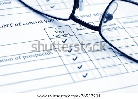 Survey form - stock photo