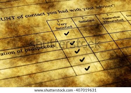 Survey form grunge concept - stock photo