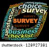 SURVEY info text graphics and arrangement concept (word clouds) on black background - stock
