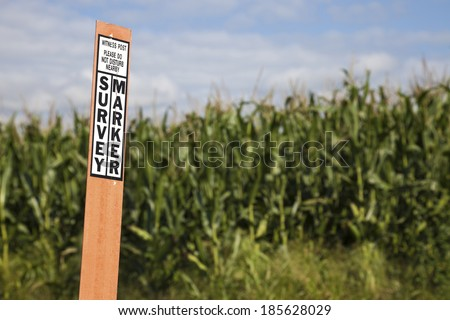 Survey marker - benchmark or section corner next to the post. - stock photo