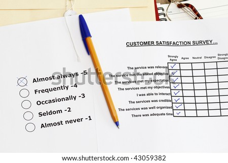 Survey materials - many uses for product and services. - stock photo