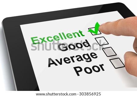 survey on tablet - stock photo