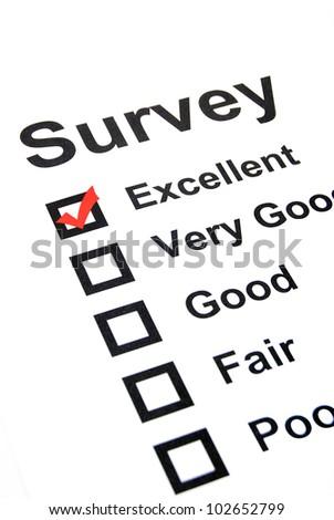 Survey page - stock photo