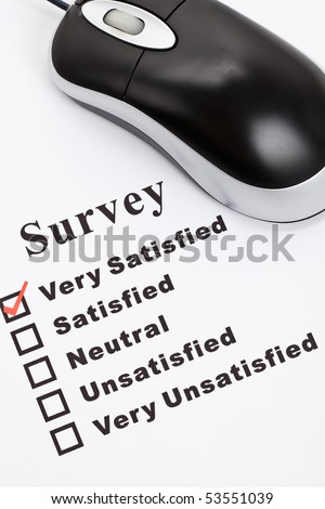 Survey, questionnaire and computer mouse, business concept - stock photo
