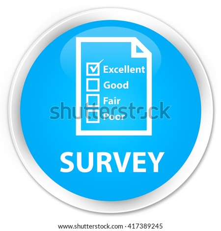 Survey (questionnaire icon) cyan blue glossy round button