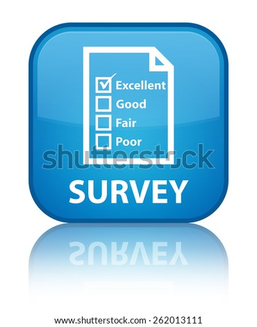 Survey (questionnaire icon) cyan blue square button - stock photo