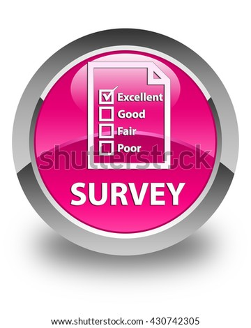 Survey (questionnaire icon) glossy pink round button - stock photo