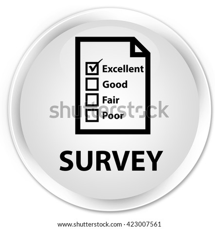 Survey (questionnaire icon) white glossy round button - stock photo