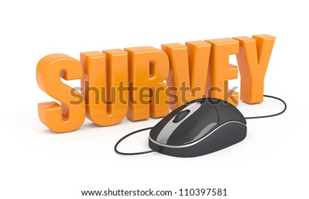 Survey word and computer mouse. 3d illustration. - stock photo