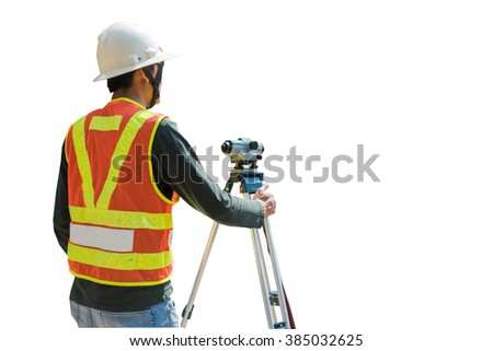 Surveying or land surveying is the technique, profession, and science of determining the terrestrial or three-dimensional position of points and the distances and angles between them - stock photo