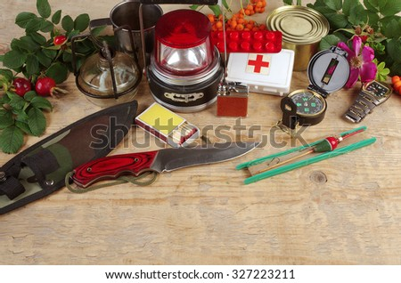 Survival and tourist equipment. First aids my own design. - stock photo