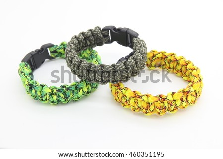 Survival bracelets parachute cord, isolated, photo