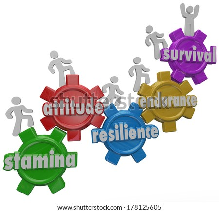Survival Endurance Resilience Attitude Stamina People Climbing Gears to Success - stock photo