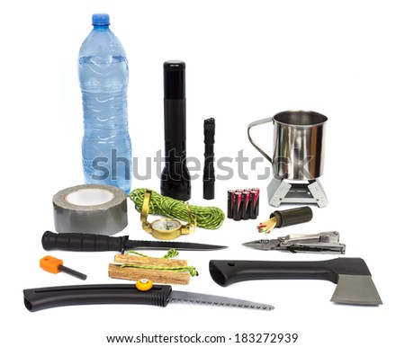 Survival kit with emergency supplies - stock photo