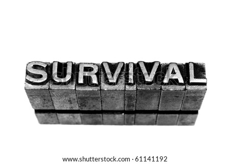 SURVIVAL written in metallic letters on a white background - stock photo