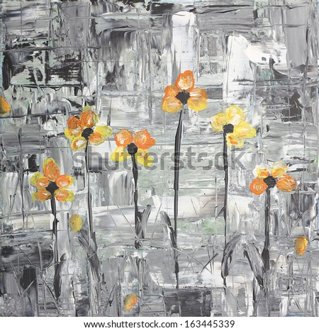 survive in the city - hand painted acrylic picture  - stock photo