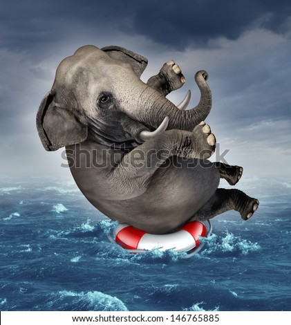 Surviving adversity and managing risk for big business challenges and uncertainty with a large elephant floating on a life preserver in a storm ocean back overcoming fear of loss for goal success. - stock photo
