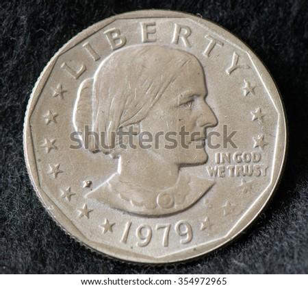 Susan B Anthony dollar coin - stock photo