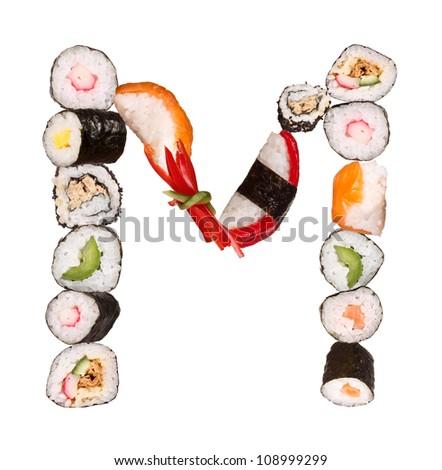 """Sushi alphabet letter """"M"""" isolated on white background - stock photo"""