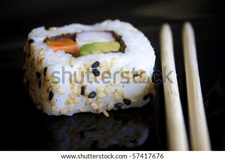 Sushi and chopsticks - stock photo