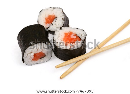 sushi and chopsticks on white, minimal natural shadow underneath