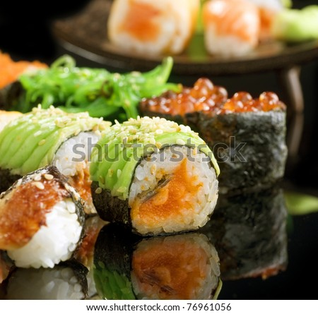Sushi and Rolls closeup - stock photo