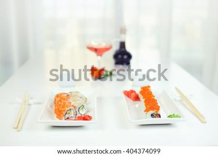 Sushi and rolls, Japanese cuisine - stock photo