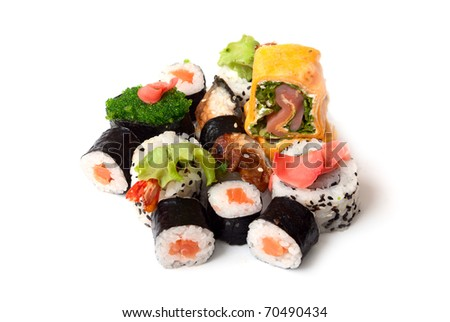 Sushi and rolls on a white background - stock photo