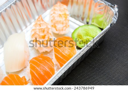 sushi and soy sauce - stock photo
