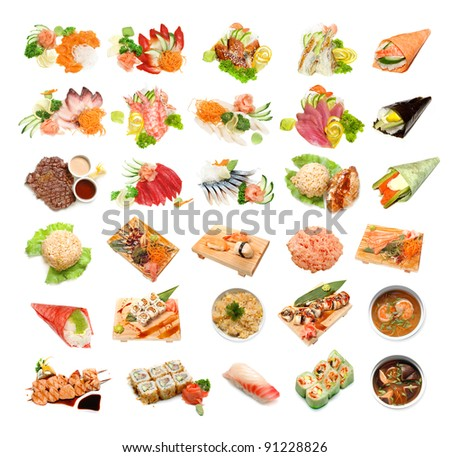 sushi and sushi roll - stock photo