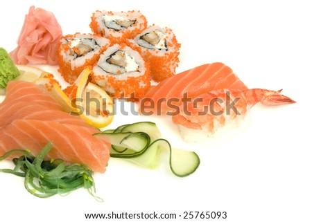 sushi assortment isolated on the white background - stock photo