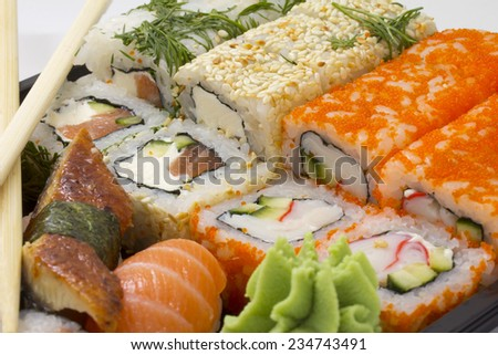 Sushi bento box with chopsticks - stock photo