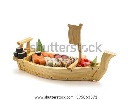 sushi boat - stock photo