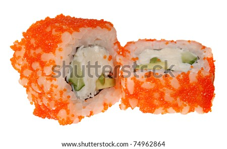 Sushi  California - a Roll made of Crab meat, Avocado and a cucumber inside. Caviar of red flying fish of Tobiko outside - stock photo