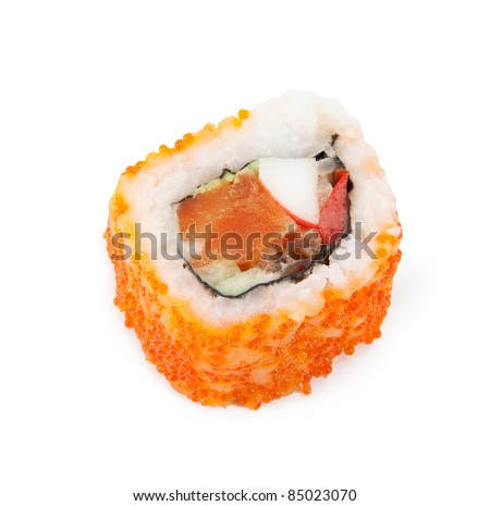 Sushi. California roll closeup isolated on white background - stock photo