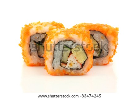 Sushi California Roll isolated in white background - stock photo