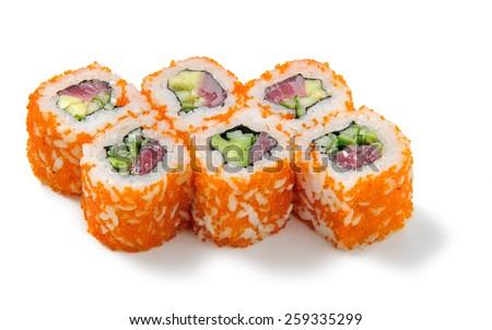 Sushi california roll with tuna in caviar - stock photo