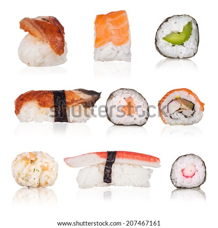 Sushi collection with isolated pieces on white background - stock photo