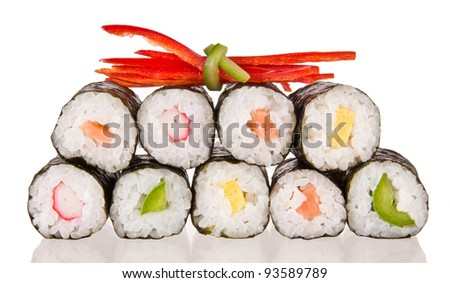 Sushi food on white background - stock photo