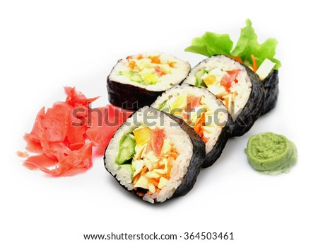 sushi fresh on white