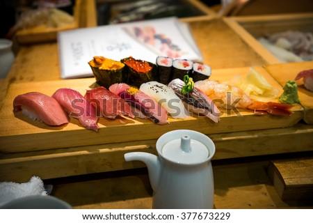 Sushi from Tsukiji Fish Market in Tokyo, Japan - stock photo