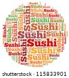 Sushi info-text graphics and arrangement concept on white background (word cloud) - stock vector