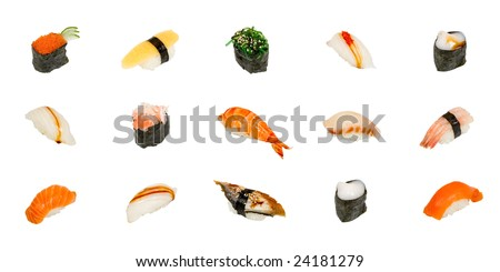 Sushi isolated on white - stock photo