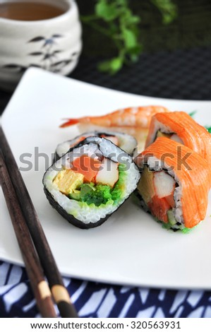 sushi japanese food on white plate with chopstick