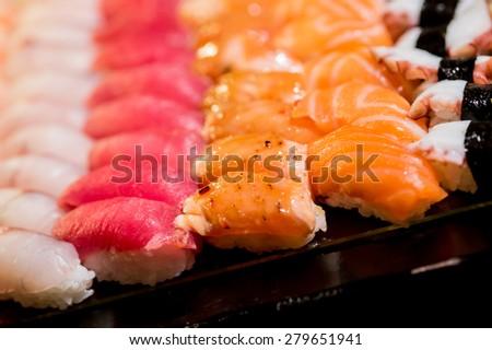 sushi,Japanese food - Sushi and Sashimi - stock photo