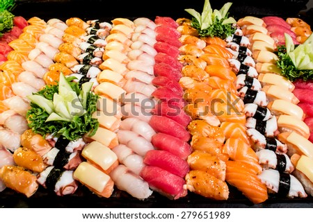 sushi,Japanese food - Sushi and Sashimi - stock photo